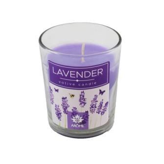 Duftkerze Lavendel im Glas 60g 12 Stck im Display