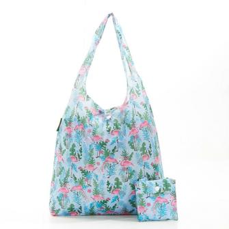 Einkaufstasche ECO CHIC Flamingo blau faltbar Nylon 56x38x10cm