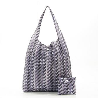 Einkaufstasche ECO CHIC Geometrisch grau faltbar Nylon 56x38x10cm