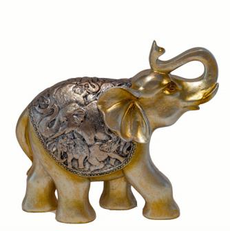 Elefanten stehend 22x20x7.5cm Golden Polyresin