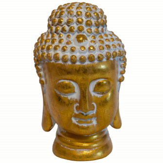 Buddha Kopf 18.5x19x30cm Golden Polyresin