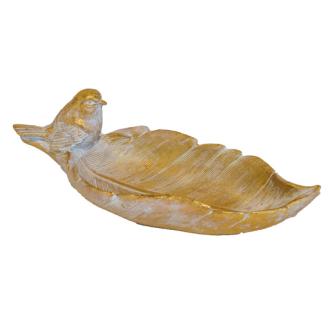 Blattteller m. Vogel 24.5x10x8cm Golden Polyresin