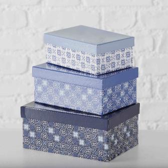 Geschenkboxen blau weiss 3er Set L22cm