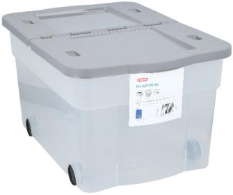 Box transparent 45L mit 4 Rädern und Klappdeckel 60x40x52cm Kunststoff