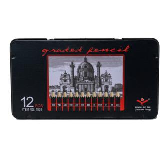 Bleistifte 12erSet 2H,H,F, HB, B, 2B, 3B-8B in Metallbox 18.5x10cm