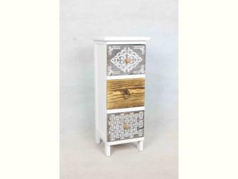 Möbel m. 3 Schubladen unterschiedlichen Holzarten 23.5x25x60.5cm
