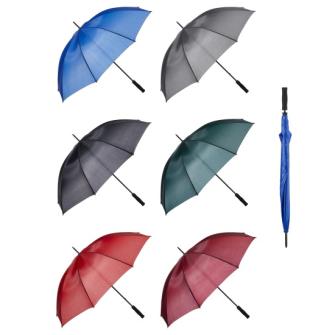Regenschirm manuell 6ass uni d 128cm 2 blau, 5 rot, 5 bordeaux, 4 grau, 4 grün, 4 schw.