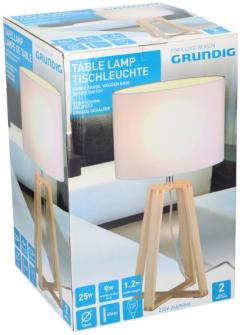 Grundig Tischlampe H40cm D25cm Holz