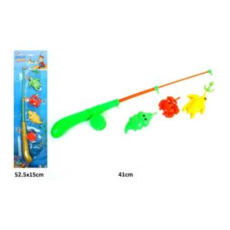 Fischer Spiel mit Fischerrute und 4 Fischen