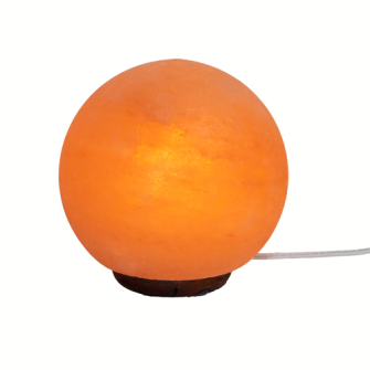 Himalayasalz-Lampe Kugel diam ca 18cm 5-6 kg,mit Holzsockel+ELEKTRIK+BIRNE 15W  leicht Defekt