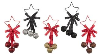 Weihnachtsglöckchen mit Stern 4 Stck 5ass 18cm Metall