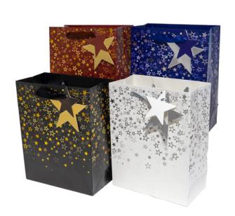 Geschenktasche Sterne mit Glitzer 30x12x41cm