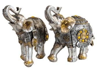 Elefant silber mit goldenen Verzierungen Polyresin L 20x18x9cm
