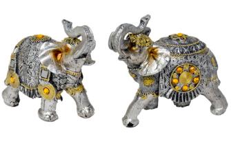 Elefant silber mit goldenen Verzierungen Polyresin M 12x11x6cm