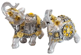 Elefant silber mit goldenen Verzierungen Polyresin S 10x9x4cm