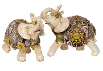 Elefant weiss mit Verzierungen Polyresin M 12x11x6cm