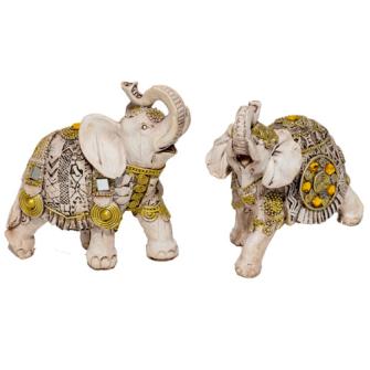 Elefant weiss mit Verzierungen Polyresin S 10x9x4cm