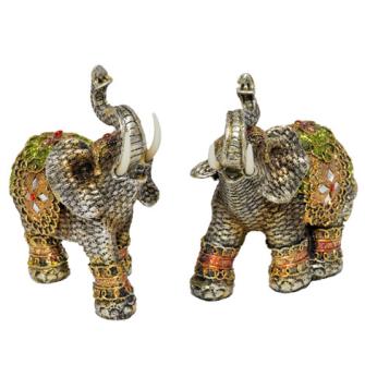 Elefant silber mit farbigen Verzierungen Polyresin M 15x12x6cm
