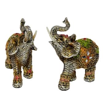 Elefant silber mit farbigen Verzierungen Polyresin S 13x10x5cm