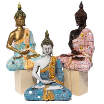 Buddha bunt 3ass Ployresin 27x16x9cm