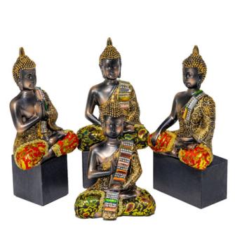 Buddha dunkel mit bunten Verzierungen 4ass Polyresin16cm
