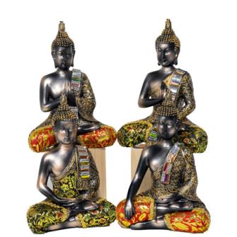 Buddha dunkel mit bunten Verzierungen 4ass Polyresin 22cm