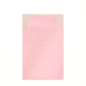 Bettgarnitur uni 160x210cm und 65x100cm sandfarben und pink 100% Baumwolle