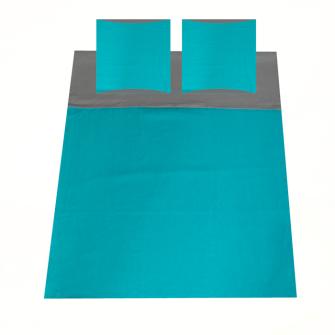 Bettgarnitur uni 200x210cm und 2x 65x65cm grau und blau 100% Baumwolle