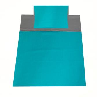 Bettgarnitur uni 160x210cm und 65x100cm grau und blau 100% Baumwolle