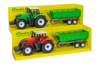 Traktor mit Anhänger 2 Farben ass 43x13.5x11cm
