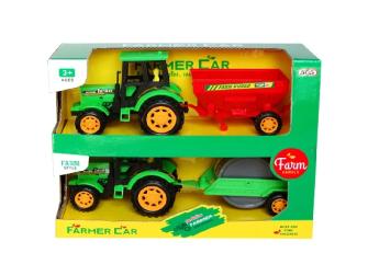 Traktor mit Anhänger 2er Set 8x22x10.5cm