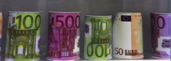 Spardose Metalldose €-Design 10x15cm ass. im AK
