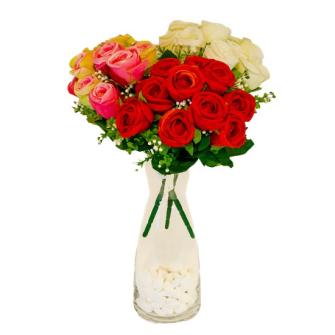 Strauss Rosen 10 Blüten 31cm weiss, rosa, rot ass