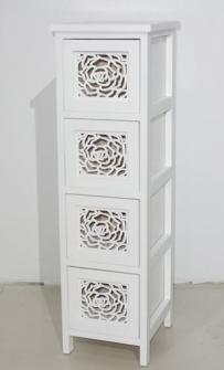 Möbel 4 Schubladen 23x27x79cm weiss mit Rosendurchbruch