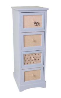 Möbel WEISS 4 Schubladen 28x32x80cm mit Jutedekor