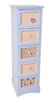 Möbel WEISS 5 Schubladen 28x32x80cm mit Jutedekor