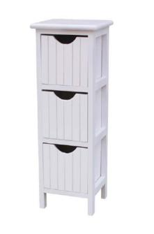 Möbel 3 Schubladen 21x19x62cm weiss mit Griffloch