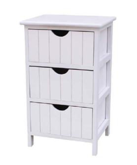 Möbel 3 Schubladen 34x28x57cm weiss mit Griffloch