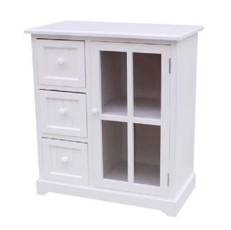 Möbel 3 Schubladen und 1 TÜRE OHNE GLAS 54x29x60cm weiss