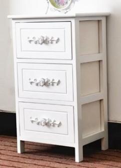 Möbel 3 Schubladen 36x29x62cm weiss mit Rosengriffe