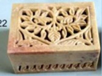 Dose 10x7.5cm Speckstein geschnitzt INDIEN