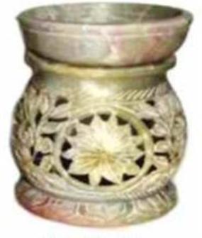 Duftlampe Speckstein 8.75cm Sonnenmotiv geschnitzt INDIEN