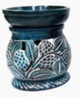 Duftlampe Speckstein 8.75cm schwarz Pflanzenranken geschnitzt INDIEN