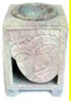 Duftlampe Speckstein 8.75cm Buddhagesicht geschnitzt INDIEN