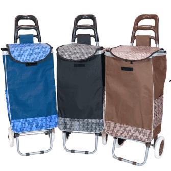 Einkaufswagen Satin mit Seitentaschen 1mx36x25cm 3ass.