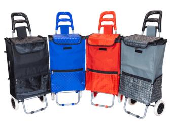 Einkaufswagen mit Fronttasche und Seitentaschen 1mx36x25cm uni soft-satiniert 4ass