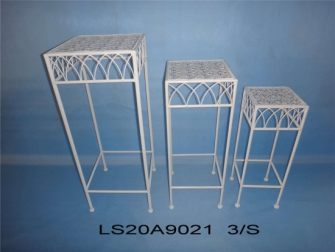 Metall weiss Shabby chic matt Pflanzenständer ECKIG 3er, 30x30xh70cm, 25x25xh60cm, 20x20xh50cm