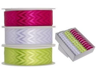 Geschenkband pink grün weiss 25mmx3m 3ass 36 Rollen im Display