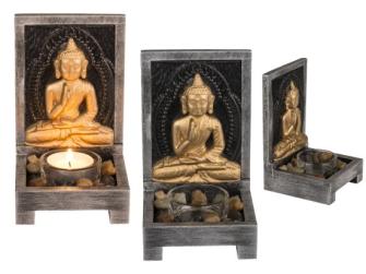 Buddha Teelichthalter mit Dekosteinen 15x9cm Holz