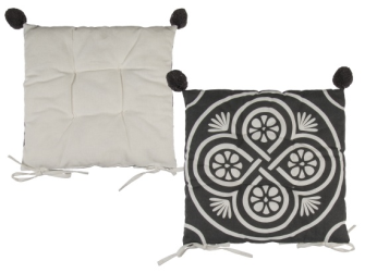 Sitzkissen grau mit weissem Muster und grauen Pom Poms 40x40cm 100% Baumwolle